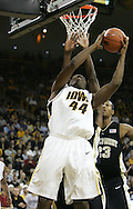 26 NOVEMBER 2007: Iowa forward Cyrus Tate (44) tries to put up a shot in Wake Forest's 56-47 win over Iowa at Carver-Hawkeye Arena in Iowa City, Iowa on November 26, 2007.