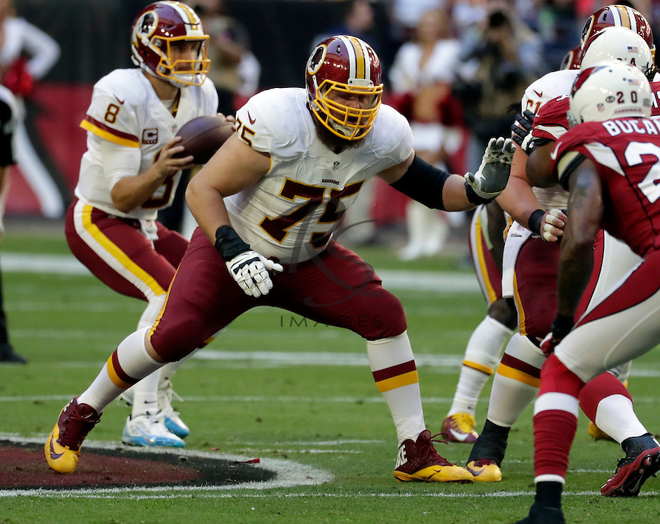 Washington Redskins offensive guard Brandon Scherff (75) during an NFL football game against the Arizona Cardinals, Sunday, Dec. 4, 2016, in Glendale, Ariz. (AP Photo/Rick Scuteri)