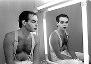 PHOTOGRAPH BY HOWARD BARLOW.GARY NUMAN - backstage THE TUBE, NEWCASTLE 1984.