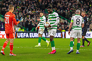 Odsonne Edouard of Celtic FC places the ball on the spot during the Europa League match between Celtic and FC Copenhagen at Celtic Park, Glasgow, Scotland on 27 February 2020.