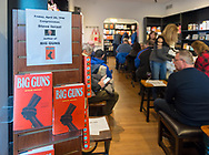"Rockville Centre, New York, USA. April 20, 2018. Rep. STEVE ISRAEL speaks at special event for Nassau County debut of the former Congressman's (NY - Dem) newest novel ""Big Guns"" - a satire of the strong gun lobby, weak Congress, and small Long Island town - at the Turn of the Corkscrew Books & Wine store. Moderator RITA KESTENBAUM is a gun-control activist and former councilwoman whose daughter was shot to death at college."
