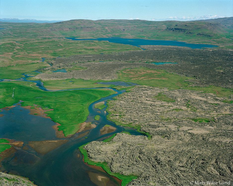 Haffjarðará séð til norðausturs, Eyja- og Miklaholtshreppur. Oddastaðavatn í baksýni. /  Haffjardará viewing northeast, Eyja- og Miklaholtshreppur. Lake Oddastadavatn in backgr.