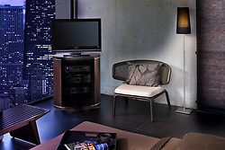 Bedroom at night with TV modern