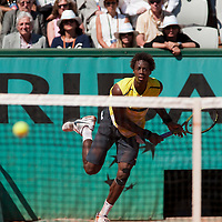 30 May 2009: Gael Monfils of France serves during the Men's Singles third round match on day seven of the French Open at Roland Garros in Paris, France.