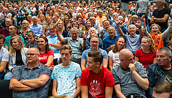 11-08-2019 NED: FIVB Tokyo Volleyball Qualification 2019 / Netherlands - USA, Rotterdam<br /> Final match pool B in hall Ahoy between Netherlands vs. United States (1-3) and Olympic ticket  for USA / Orange support, fans, volaren