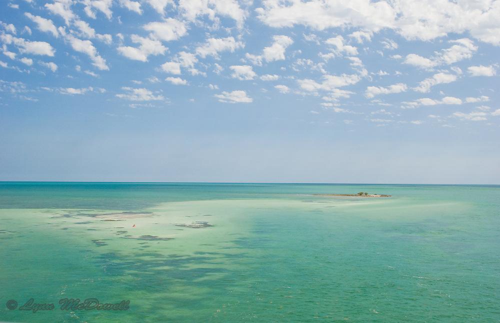Florida Keys ocean and sky with red kayak at Bahia Honda State park