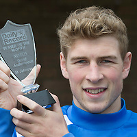 St Johnstone's David Wotherspoon, Daily Record Player of the Month for March 2014 pictured with his award.<br /> Picture by Graeme Hart.<br /> Copyright Perthshire Picture Agency<br /> Tel: 01738 623350  Mobile: 07990 594431