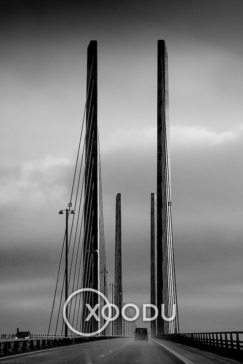Oresundsbroen bridge pylons, Malmo, Sweden (December 2004)