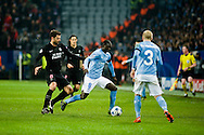 25.11.2015. Malm&ouml;, Sweden. <br /> Enoch Kofi Adu (R) of Malm&ouml; FF fights for the ball with Thiago Motta (L) of Paris during the UEFA Champions League match at the Malm&ouml; Stadium. <br /> Photo: &copy; Ricardo Ramirez.