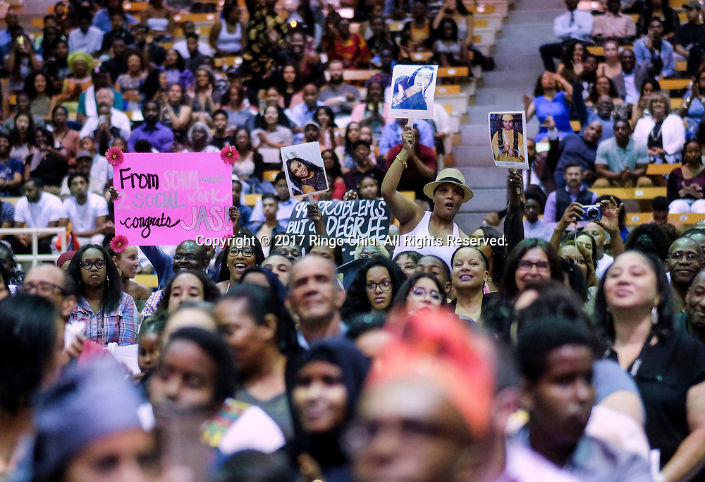 RIVERSIDE, CA - JUNE 11, 2017: Relatives and friends show their support during the Black Graduation Ceremony at University of California, Riverside, Sunday June 11, 2017. (Photo by Ringo H.W. Chiu / For The Times)(Photo by Ringo Chiu)<br /> <br /> Usage Notes: This content is intended for editorial use only. For other uses, additional clearances may be required.
