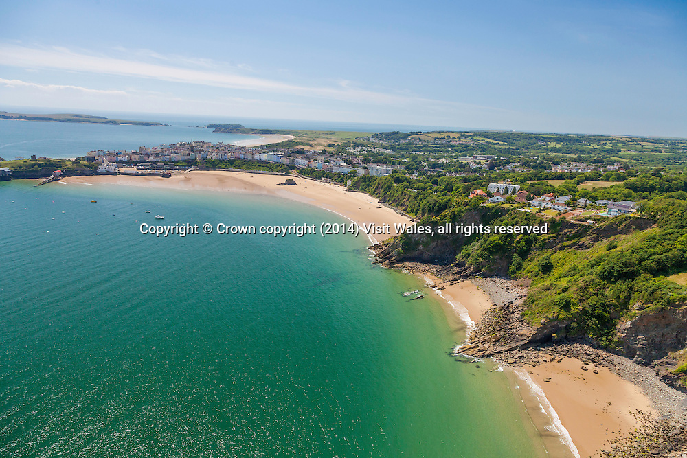 Aerial view of Tenby from the north<br /> Pembrokeshire<br /> South<br /> Towns and Villages<br /> Coastal scenery