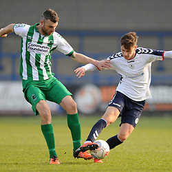 TELFORD COPYRIGHT MIKE SHERIDAN 30/3/2019 - Ryan Barnett of AFC Telford (on loan from Shrewsbury Town Football Club) battles for the ball with Robbie Dale during the Vanarama National League North fixture between AFC Telford United and Blyth Spartans at the New Bucks Head.