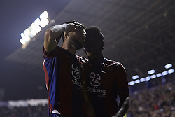 April 27, 2018 - Valencia, Valencia, Spain - Morales (L) of Levante UD celebrates after scoring with his teammate Boateng during the La Liga game between Levante UD and Sevilla FC at Ciutat de Valencia on April 27, 2018 in Valencia, Spain  (Credit Image: © David Aliaga/NurPhoto via ZUMA Press)
