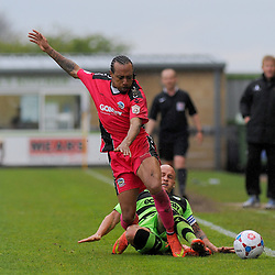 Dover Athletic's Ricky Modeste loses the ball to Forest Green Rovers's David Pipe.  - Photo mandatory by-line: Nizaam Jones - Mobile: 07966 386802 - 25/04/2015 - SPORT - Football - Nailsworth - The New Lawn - Forest Green Rovers v Dover - Vanarama Conference League