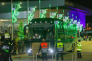 The Celtic Team bus arrives at celtic Park ahead of the Europa League match between Celtic and Rennes at Celtic Park, Glasgow, Scotland on 28 November 2019.
