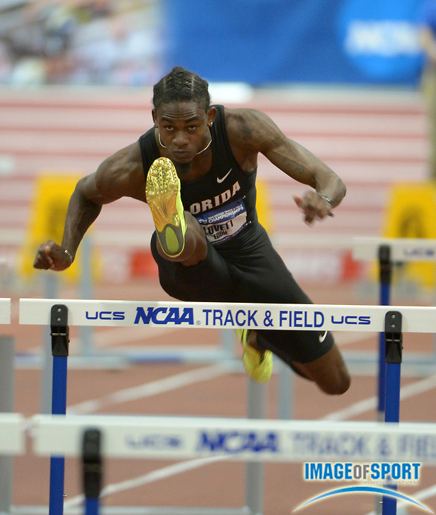 Mar 14, 2014; Albuquerque, NM, USA; Eddie Lovett of Florida was the top qualifier in the 60m hurdles heat in 7.57 in the 2014 NCAA Indoor Championships at Albuquerque Convention Center.