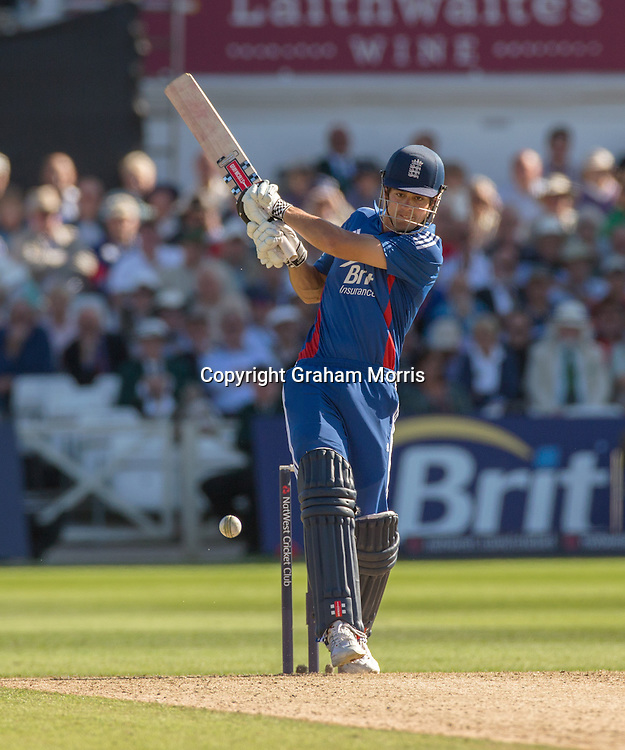 Alastair Cook bats during the fifth and final NatWest Series one day international between England and South Africa at Trent Bridge, Nottingham. Photo: Graham Morris (Tel: +44(0)20 8969 4192 Email: sales@cricketpix.com) 05/09/12