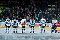 KELOWNA, CANADA - DECEMBER 30: Cole Linaker #26, Nick Merkley #10, Gordie Ballhorn #4, Tanner Wishnowski #9, Devante Stephens #21 and Jackson Whistle #1 of Kelowna Rockets line up against the Everett Silvertips on December 30, 2015 at Prospera Place in Kelowna, British Columbia, Canada.  (Photo by Marissa Baecker/Shoot the Breeze)  *** Local Caption *** Cole Linaker; Nick Merkley;, Gordie Ballhorn; Tanner Wishnowski; Devante Stephens; Jackson Whistle;