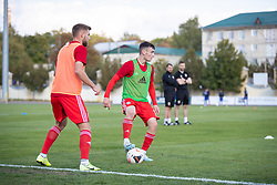 ORHEI, MOLDOVA - Friday, October 11, 2019: Wales' Dylan Levitt during the pre-match warm-up before the UEFA Under-21 Championship Italy 2019 Qualifying Group 9 match between Moldova and Wales at the Orhei District Sports Complex. (Pic by Kunjan Malde/Propaganda)