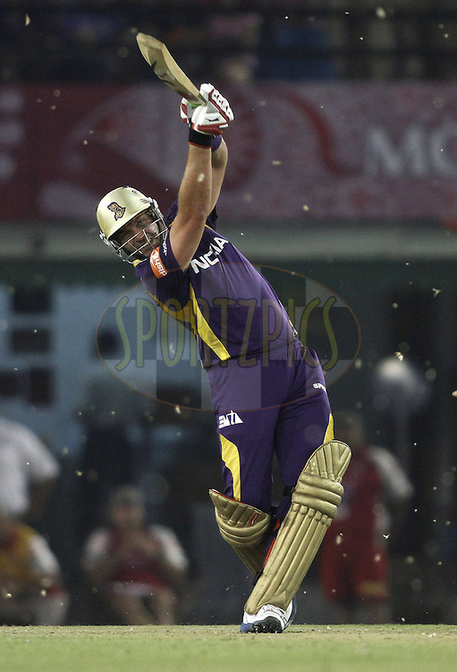 Jacques Kallis of the Kolkata Knight Riders hits the winning runs with a straight six during match 22 of the the Indian Premier League ( IPL) 2012  between The Kings X1 Punjab and The Kolkata Knightriders held at the Punjab Cricket Association Stadium, Mohali on the 18th April 2012..Photo by Shaun Roy/IPL/SPORTZPICS.