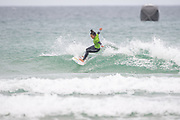 Natsumi Taoka (Japan) competing in the 2019 Boardmasters Roxy Pro Surf Competition, WSL Qualifier at Fistral Beach, Newquay, Cornwall on 8 August 2019.
