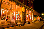 Historic downtown buildings at night, Telluride, Colorado