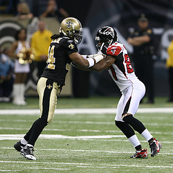 2007 October, 21: Falcons receiver Joe Horn (87) blocks New Orleans Saints cornerback Mike McKenzie (34) during a 22-16 win by the New Orleans Saints over the Atlanta Falcons at the Louisiana Superdome in New Orleans, LA.