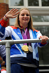 Britain's Paralympic swimmer Heather Frederiksen during a parade in central London celebrating Team GB athletes who competed in the London 2012 Olympic and Paralympic Games, September 10th 2012. Photo by Chris Joseph/i-Images.