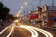 Car light trails on the road in Ingham, Queensland, Australia.