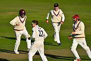 Wicket -Dom Bess of Somerset celebrates taking the wicket of Stephen Parry of Lancashire during the Specsavers County Champ Div 1 match between Somerset County Cricket Club and Lancashire County Cricket Club at the Cooper Associates County Ground, Taunton, United Kingdom on 14 September 2017. Photo by Graham Hunt.