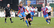 Alma Donohoe playing the ball during the FA Women's Premier League match between Crystal Palace LFC and Bedford Ladies at Bromley Football Club, Bromley, Kent, United Kingdom on 15 March 2015. Photo by Michael Hulf.