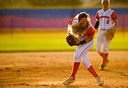 Xavier Mascareñas/Treasure Coast Newspapers; Lincoln Park Academy's Ashley Langel, playing at third base, fields a grounder for an out in the second inning against Bishop Verot High School during the softball regional semifinal at the Lawnwood Softball Complex in Fort Pierce on Wednesday, April 29, 2015.