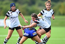 Lillian Stoeger of Bristol Bears Women is tackled by a Dragons opponent - Mandatory by-line: Paul Knight/JMP - 02/09/2018 - RUGBY - Shaftsbury Park - Bristol, England - Bristol Bears Women v Dragons Women - Pre-season friendly