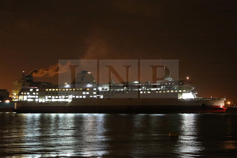 © Licensed to London News Pictures. 01/02/2014. File image of Ostend Spirit leaving Tilbury on October 30th 2013. A video capturing the moment a former cross channel ferry was beached in Turkey at a breakers yard has gone viral. Over half a million views have been racked up showing the former Pride of Calais, latterly Ostend Spirit, crash on to the beach at the yard in Aliaga, Turkey. These images show her on the Thames from where her final journey started. She was laid up at Tilbury for 6 months before being sent to scrap. The viral video is at https://www.youtube.com/watch?v=QYltdonj2iE. Two other videos show the dramatic beaching from the perspective of someone on board and can be found here http://onthethames.net/2014/02/01/video-shows-dramatic-beaching-pride-calais/ Credit : Rob Powell/LNP