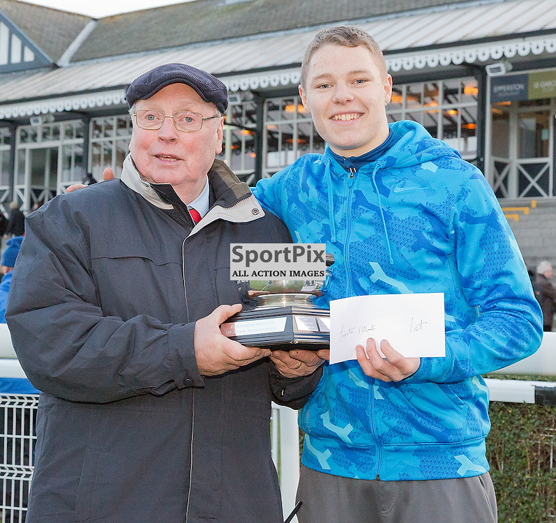 146th New Year Sprint 31 December 2014; Dylan Ali, winner of the Invite 110 meters Handicap at Musselburgh Racecourse, Musselburgh;