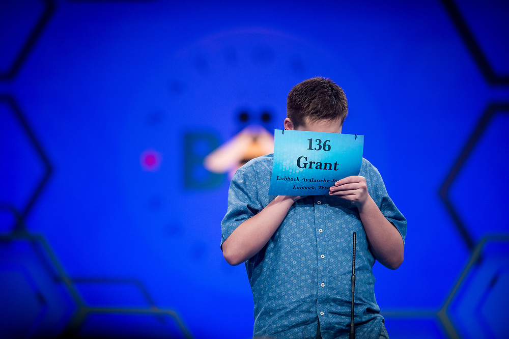 Grant Taylor, 14, from Lubbock, Texas, participates in the finals of the 2017 Scripps National Spelling Bee on Thursday, June 1, 2017 at the Gaylord National Resort and Convention Center at National Harbor in Oxon Hill, Md.      Photo by Pete Marovich/UPI