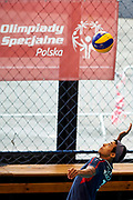 Katowice, Poland - 2017 September 03: Athlete Felix Badzo from SO Czech republic serves the ball while Third Place  match between SO Azerbaijan and SO Czech Republic during European Unified Volleyball Tournament 2017 at Spodek Hall on September 03, 2017 in Katowice, Poland.<br /> <br /> Adam Nurkiewicz declares that he has no rights to the image of people at the photographs of his authorship.<br /> <br /> Picture also available in RAW (NEF) or TIFF format on special request.<br /> <br /> Any editorial, commercial or promotional use requires written permission from the author of image.<br /> <br /> Image can be used in the press when the method of use and the signature does not hurt people on the picture.<br /> <br /> Mandatory credit:<br /> Photo by &copy; Adam Nurkiewicz / Mediasport