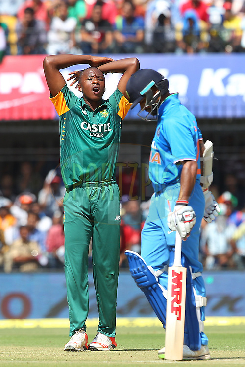 Kagiso Rabada of South Africa reacts after an unsuccessful appeal for the wicket of Shikhar Dhawan of India during the 2nd Paytm Freedom Trophy Series One Day International ( ODI ) match between India and South Africa held at the Holkar Stadium in Indore, India on the 14th October 2015<br /> <br /> Photo by Ron Gaunt/ BCCI/ Sportzpics