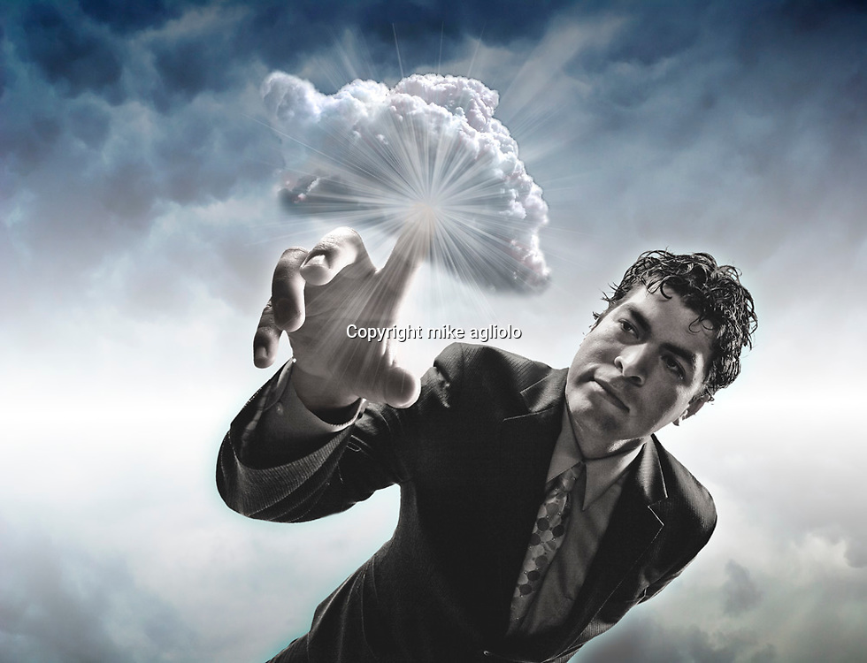 man with finger in cloud
