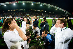 Nejc Pecnik, Jasmin Handanovic, Matej Mavric of Slovenia  celebrate at  FIFA World Cup Sout Africa 2010 Qualifying Second Play off match between Slovenia and Russia, on November 18, 2009, in Stadium Ljudski vrt, Maribor, Slovenia. Slovenia won 1:0 and qualified for the FIFA World Championships 2010. (Photo by Vid Ponikvar / Sportida)