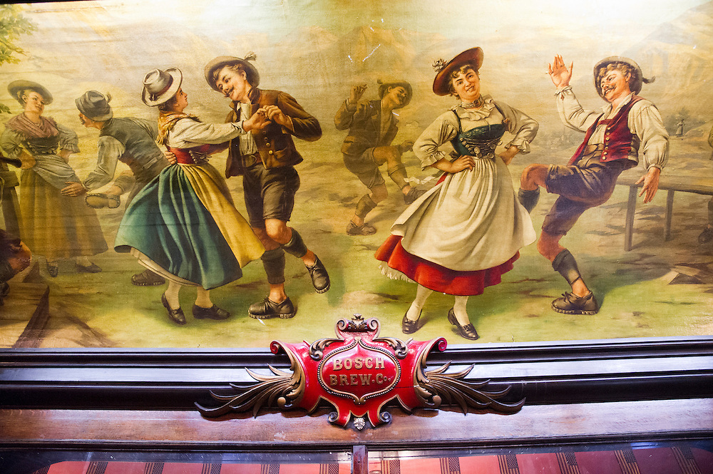 Mural on bar room ceiling of the Michigan House Cafe and Brewpub in Calumet, Michigan.