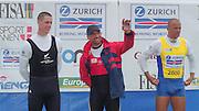 Vienna AUSTRIA. Gold Medalist; SUI M1X Xeno MUELLER winning the final - Silver NZL M1X. Rob WADDELL Bronze CZE M1X Vaclav CHULUPA.  2000 FISA World Cup. 2nd Round. Vienna Neue Donau Rowing Course  [Mandatory Credit. Peter Spurrier/Intersport Images]