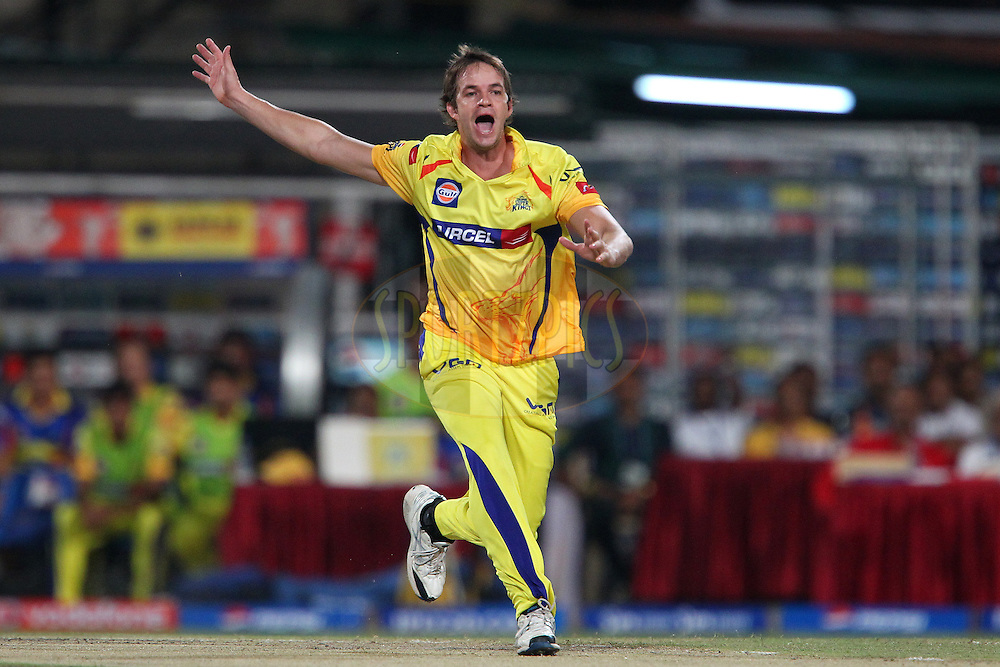 Albie Morkel appeals during the Final of the Pepsi Indian Premier League between The Chennai Superkings and the Mumbai Indians  held at the Eden Gardens Stadium in Kolkata on the 26th May 2013..Photo by Ron Gaunt-IPL-SPORTZPICS      ..Use of this image is subject to the terms and conditions as outlined by the BCCI. These terms can be found by following this link:..http://www.sportzpics.co.za/image/I0000SoRagM2cIEc
