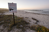 Signage protecting African Black Oystercatchers along the Namaqua coastline,  Namaqua National Park, Northern Cape, South Africa