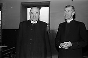 11/05/1965<br /> 05/11/1965<br /> 11 May 1965<br /> Archbishop McCann, primate of all Ireland, and Bishop of Cork, Rev. R.C. Perdue, after the opening of the 32nd Synod of the Church of Ireland at Christchurch Cathedral on May 11, 1965.