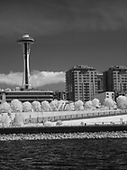 Space Needle in black and white infrared