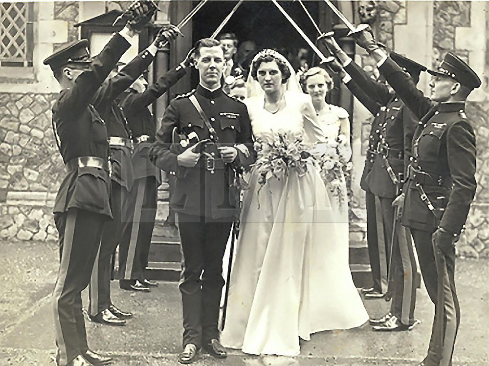 ***COPY FOUND HERE: https://www.dropbox.com/s/bj4js2ci6ctmtyw/Soldiers.txt *** © Licensed to London News Pictures. 30/01/2014 London, UK. Sir Hugh Beach with wife Estelle on their wedding day in 1951.<br />