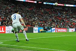England's Leighton Baines (Everton) takes a corner - Photo mandatory by-line: Joe Meredith/JMP - Mobile: 07966 386802 - 3/09/14 - SPORT - FOOTBALL - London - Wembley Stadium - England v Norway - International Friendly