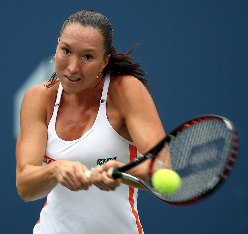 Jelena Jankovic of Serbia and Montenegro hits a backhand return to Elena Dementieva of Russia during their quarterfinals round match on the fourth day of the 2006 US Open tennis tournament in Flushing Meadows, New York Tuesday, 05 September 2006.