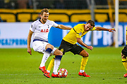 Borussia Dortmund midfielder Mario Götze (10) tackles Tottenham Hotspur forward Harry Kane (10) during the Champions League round of 16, leg 2 of 2 match between Borussia Dortmund and Tottenham Hotspur at Signal Iduna Park, Dortmund, Germany on 5 March 2019.